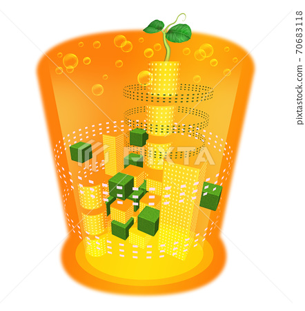 Illustration of a glass with a drink that melts into the city 70683118