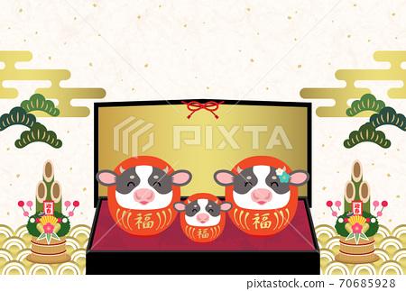 2021年元旦新年問候日式帶牛達摩笑臉和金燈籠的新年賀卡[沒有字母] 70685928