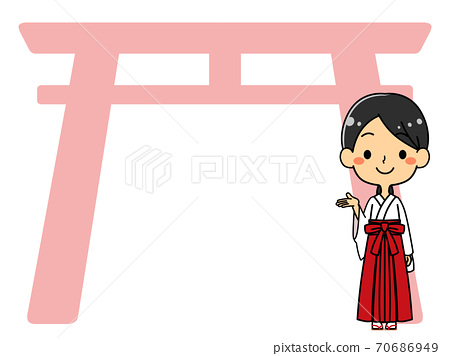 Shrine maiden torii background illustration copy space 70686949