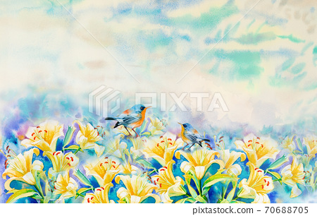 Painting lilly flowers and bird couple. 70688705