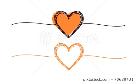 Heart scribble banner set isolated on white background 70689431
