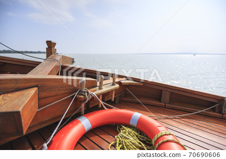 Wooden elements of the front of the yacht. The Lake Balaton. Hungary. 70690606