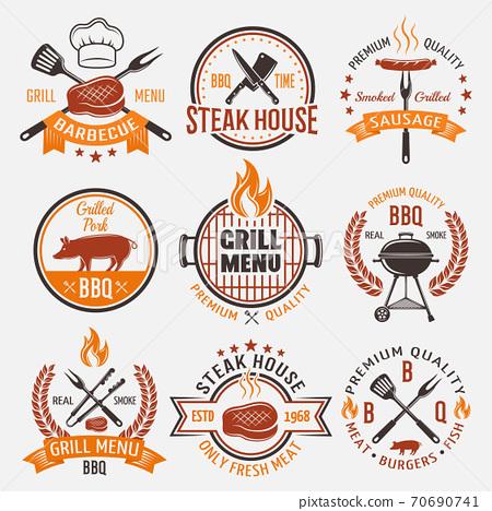 BBQ Retro Style Emblems 70690741