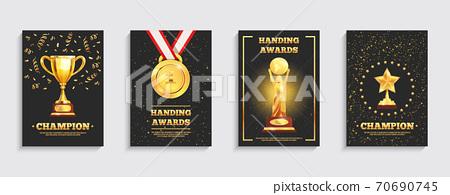 Award Gold Trophy Posters Set 70690745
