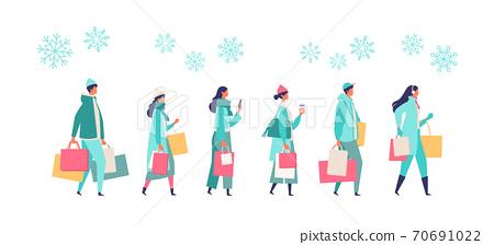 겨울 쇼핑을가는 사람들의 일러스트 70691022