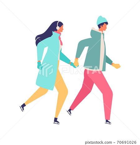 年輕的冬天夫婦滑冰的插圖 70691026