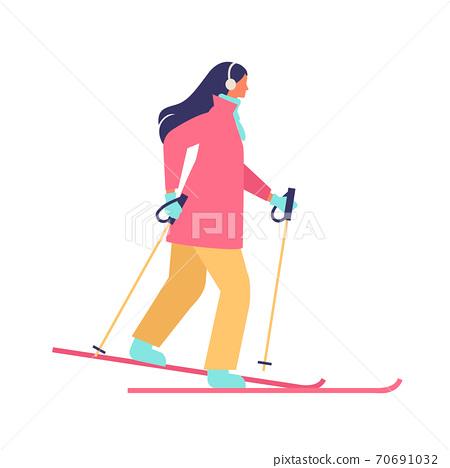 스키를 겨울 여성 일러스트 70691032