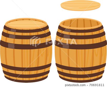 帶蓋的木桶和帶蓋的木桶 70691811