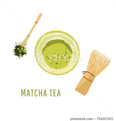 Top view set of matcha powder bowl, wooden spoon and whisk, green tea leaf, isolated on white background. Vector illustration 70693301