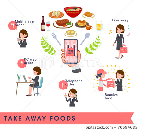 flat type business women_Take away foods 70694685