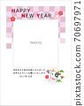 新年賀卡2021年的一年相框粉紅色1張照片 70697971
