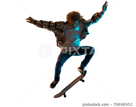 young man skateboarder Skateboarding isolated white background shadow silhouette 70698952
