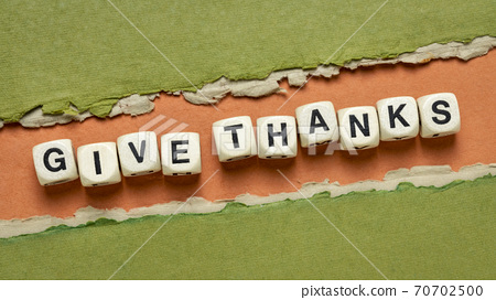 give thanks text in wooden letter cubes 70702500