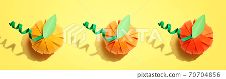 Paper craft autumn pumpkins 70704856