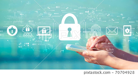 Internet network security concept with smartphone 70704928