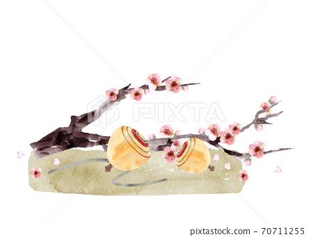 極樂和梅花水彩畫 70711255