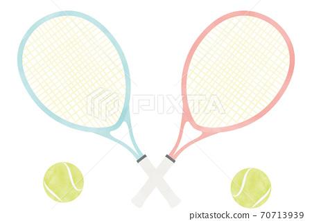 簡單的水彩彩色網球拍和網球 70713939