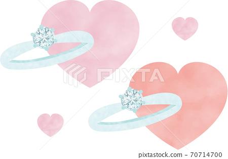 溫柔的水彩彩色鑽石戒指 70714700