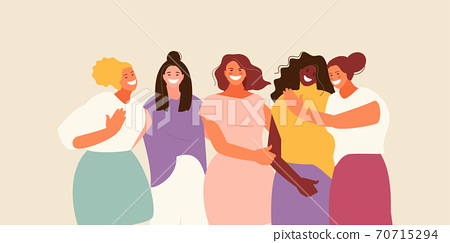 Hugging laughing female friends vector 70715294