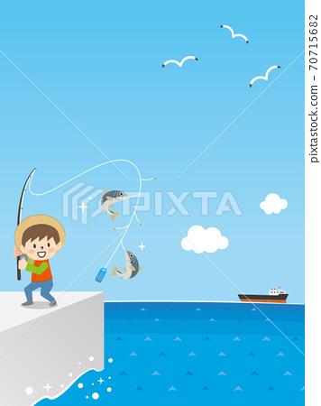 在路堤上釣魚的男孩 70715682