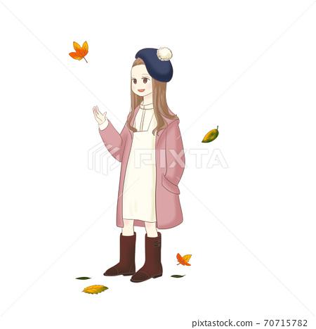 落葉和女孩(粉紅色) 70715782