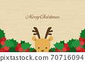 Annual event Christmas reindeer wood grain background 70716094