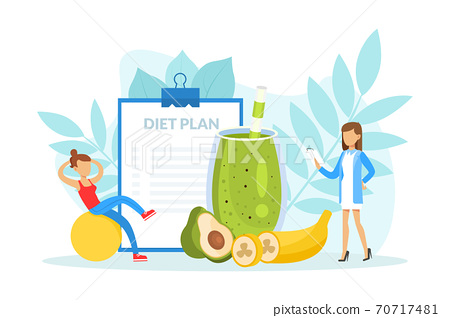 Healthy Nutrition and Dieting, Female Nutritionist Doctor Holding Clipboard with Diet Plan, Weight Loss, Nutrition Consultation Vector Illustration 70717481