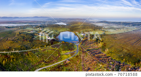 Aerial view of Bonny Glen in County Donegal with fog - Ireland. 70718588