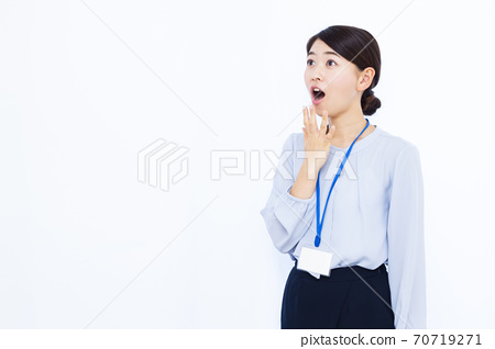 30s business woman office casual white background 70719271