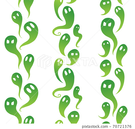 Set of vertical seamless borders from green ghosts with emotions. The object is separate from the background. Halloween decoration with spirits. Vector element 70721376