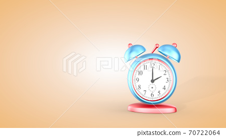 Time, cute alarm clock isolated on light background, 2 o'clock. 3D rendering 70722064