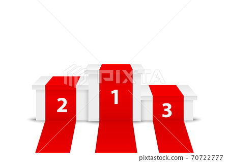 Vector 3d Realistic White Winners Podium with Red Carpet Closeup Isolated on White Background. Stage for Awards Ceremony, Pedestal. Design Template 70722777