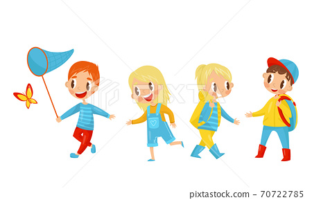 Little Boy and Girl Catching Butterflies and Hiking with Backpacks Vector Illustration Set 70722785