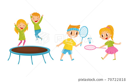 Little Boy and Girl Jumping on Trampoline and Playing Badminton Vector Illustration Set 70722818