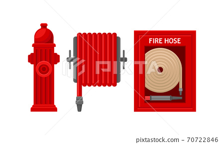 Active Fire Protection Devices with Fire Hose and Fire Hydrant Vector Set 70722846
