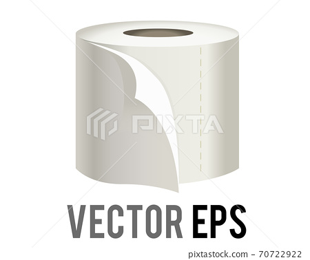 The isolated vector roll of white toilet, washroom or kichen tissue paper icon with sheet unfurling 70722922