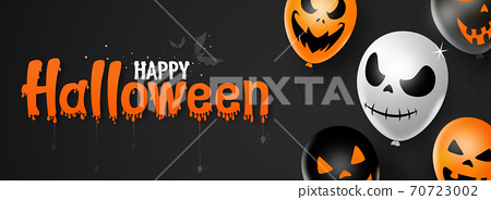 Happy halloween text banner ,scary balloons, bats, spider, isolated  on black   background, party on holiday events   vector illustration  70723002