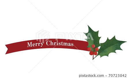 簡單的絲帶和冬青裝飾(紅色)聖誕裝飾 70723842