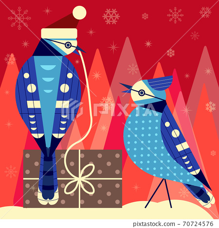 Christmas Birds Card with Blue Jay Couple 70724576