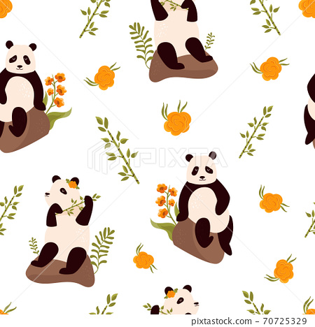 Seamless pattern with cute pandas, bamboo and floral ornament. 70725329