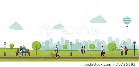 綠樹成蔭的公園(人們的日常生活)水平橫幅插圖/夏季/春季 70725393