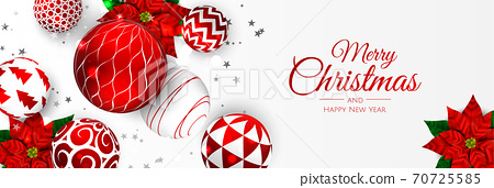 Merry Christmas and Happy New Year. Xmas background with poinsettia, Snowflakes, star and balls design. 70725585