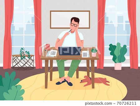 Writer at laptop flat color vector illustration 70726211