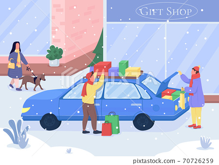 Shopping for Christmas gifts flat color vector illustration 70726259