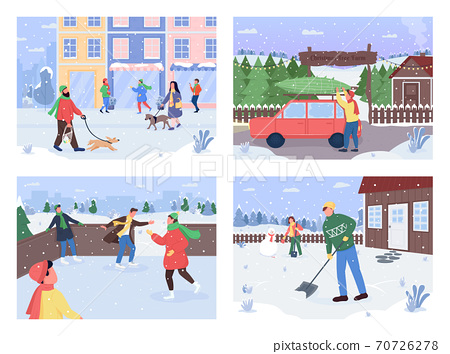 Winter outside activity flat color vector illustration set 70726278