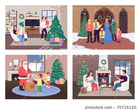 Christmas celebration flat color vector illustration set 70726280