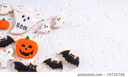 萬聖節 餅乾 糖霜 糖霜餅乾 白色背景 Decoratied cookies ハロウィン クッキー 70726786