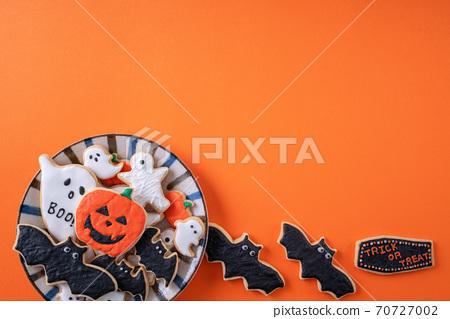 萬聖節 餅乾 糖霜 糖霜餅乾 橙色背景 Decoratied cookies ハロウィン クッキー 70727002