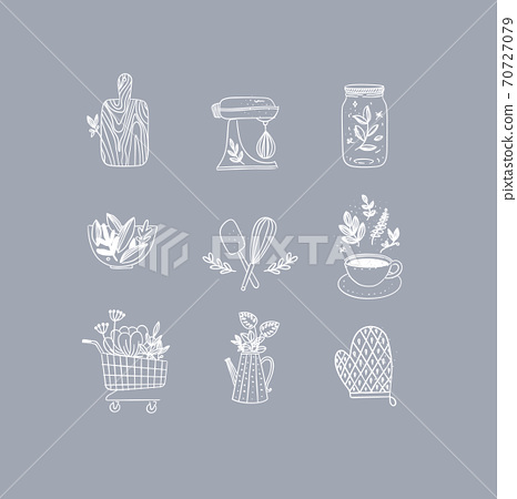 Hand made floral icons kitchen grey 70727079