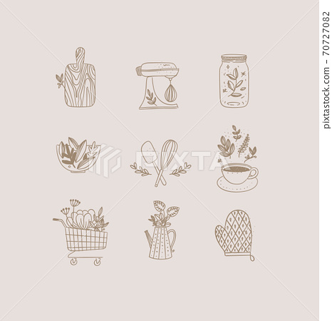 Hand made floral icons kitchen beige 70727082
